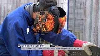 Voisins-le-Bretonneux : les enfants réalisent des oeuvres recyclées
