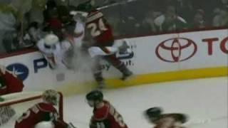 Derek Boogaard destroys Rene Bourque