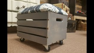Crate ideas:  How to make a storage ottoman
