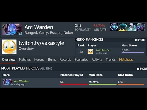 Carry Arc Warden highlight by twitch.tv/vaxastyle MMR