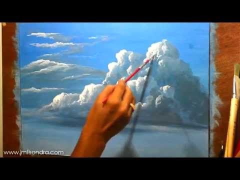 How to Paint Clouds in Acrylic - Instructional Painting Less