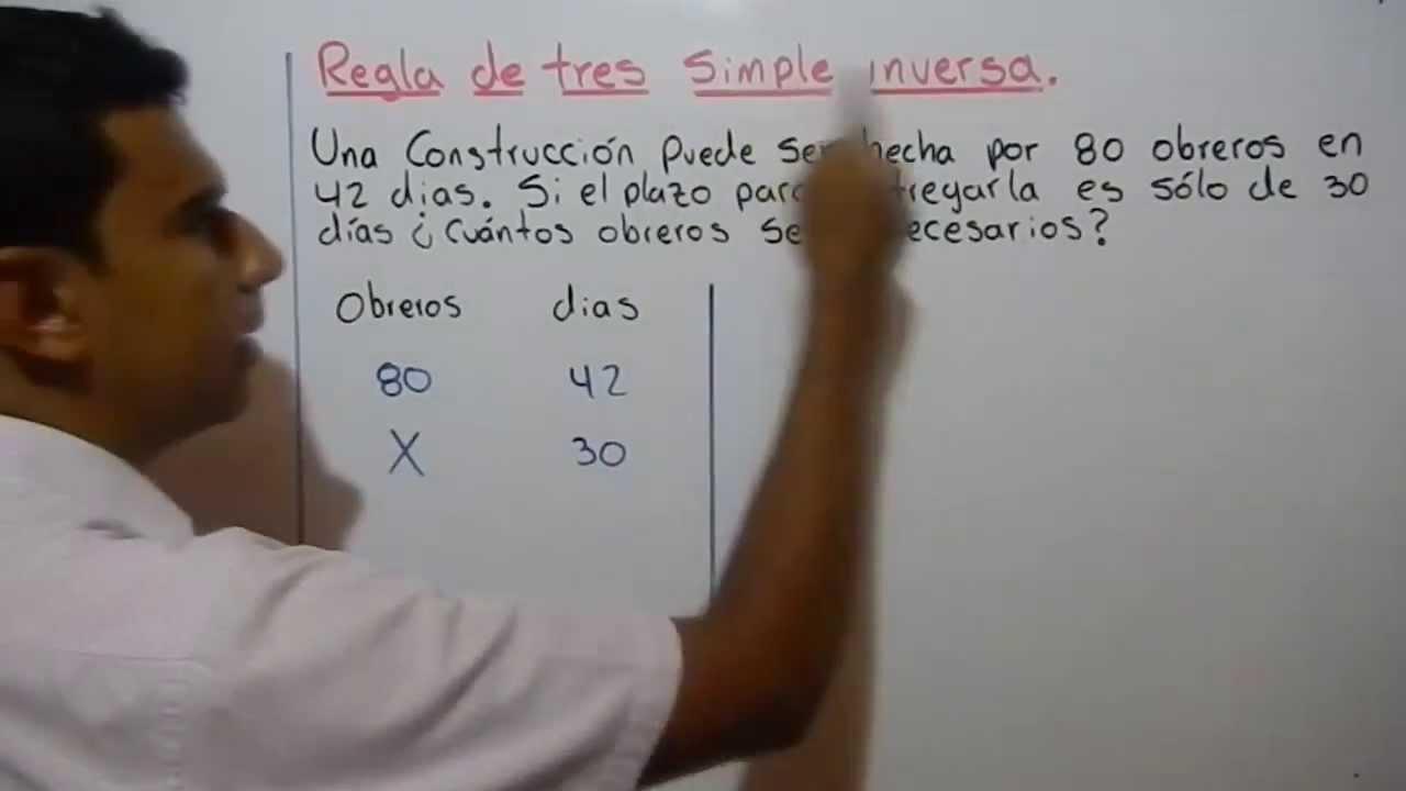 COMO RESOLVER UNA REGLA DE TRES SIMPLE INVERSA. Ejemplo 3 - YouTube