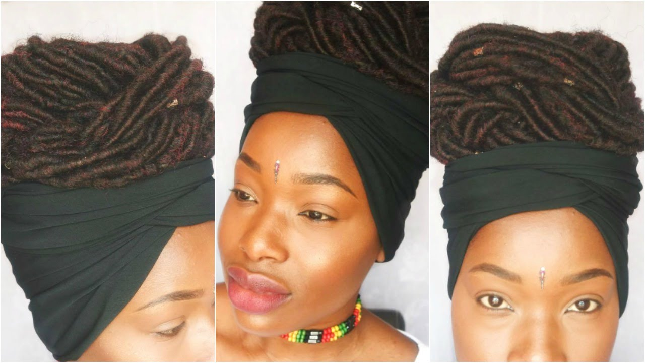 Faux Locs Updo With A Headscarf REQUESTED SR YouTube