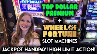 HIGH LIMIT ACTION! JACKPOT HANDPAY ON TOP DOLLAR SLOT MACHINE! CRAZY COMEBACK ON WHEEL OF FORTUNE!