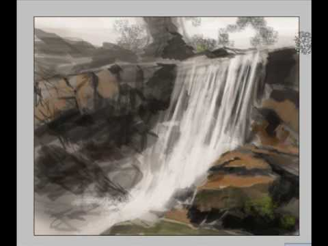 How to paint waterfall digital painting concept art landscape