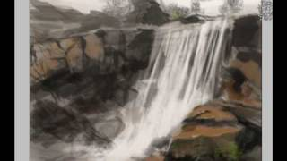 How to draw and paint waterfall landscape