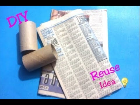 DIY Reuse Idea-How to Reuse Empty Tissue Paper Rolls and Newspaper-Best out of waste craft idea