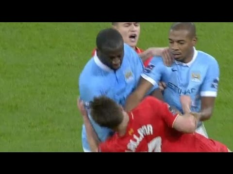 Liverpool vs Manchester City: Yaya Toure vs Adam Lallana FIGHT
