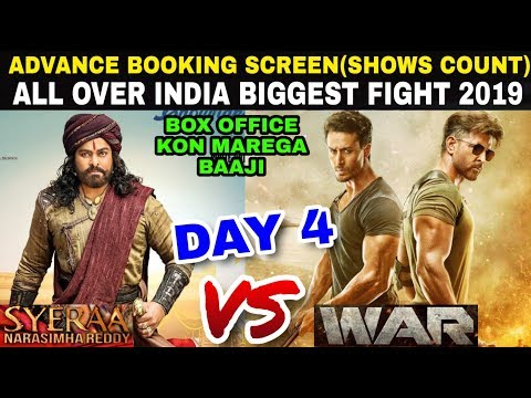 Sye Raa Vs War Movie Advance booking India Screens(Show Count) Day 4 | HRITHIK, Chiranjeevi