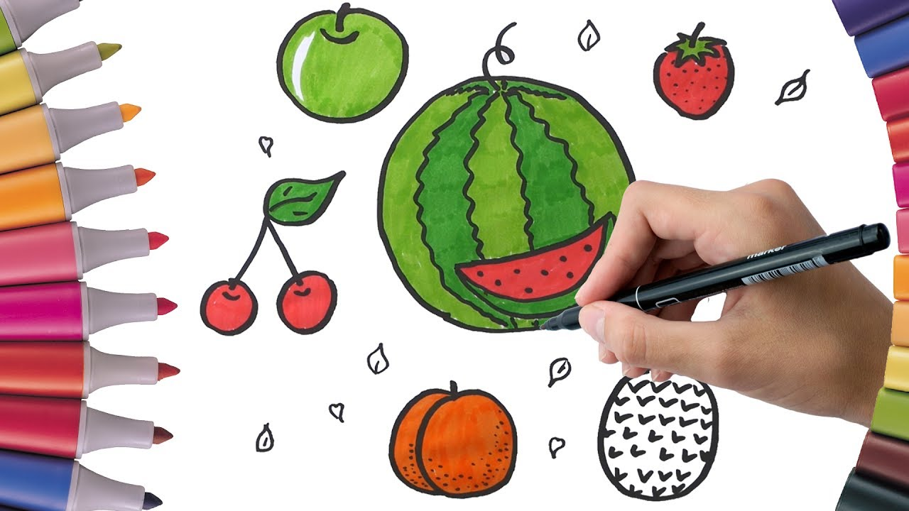 coloring fruit watermelon cherry banana pineapple how to draw