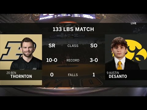 133 Pounds: #20 Ben Thornton (Purdue) vs. #9 Austin Desanto (Iowa) | Big Ten Wrestling