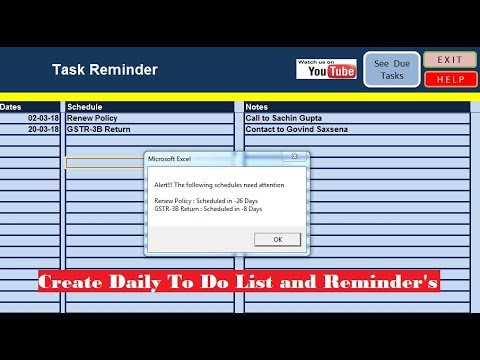Best Task Reminder for Windows II To Do List Create in Excel
