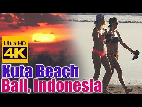[4K] Kuta Beach Sunset, Bali, Indonesia 巴厘岛库塔海滩日落