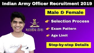 Indian Army Officer Recruitment 2019 | Male & Female | Eligibility Criteria | Apply Online....
