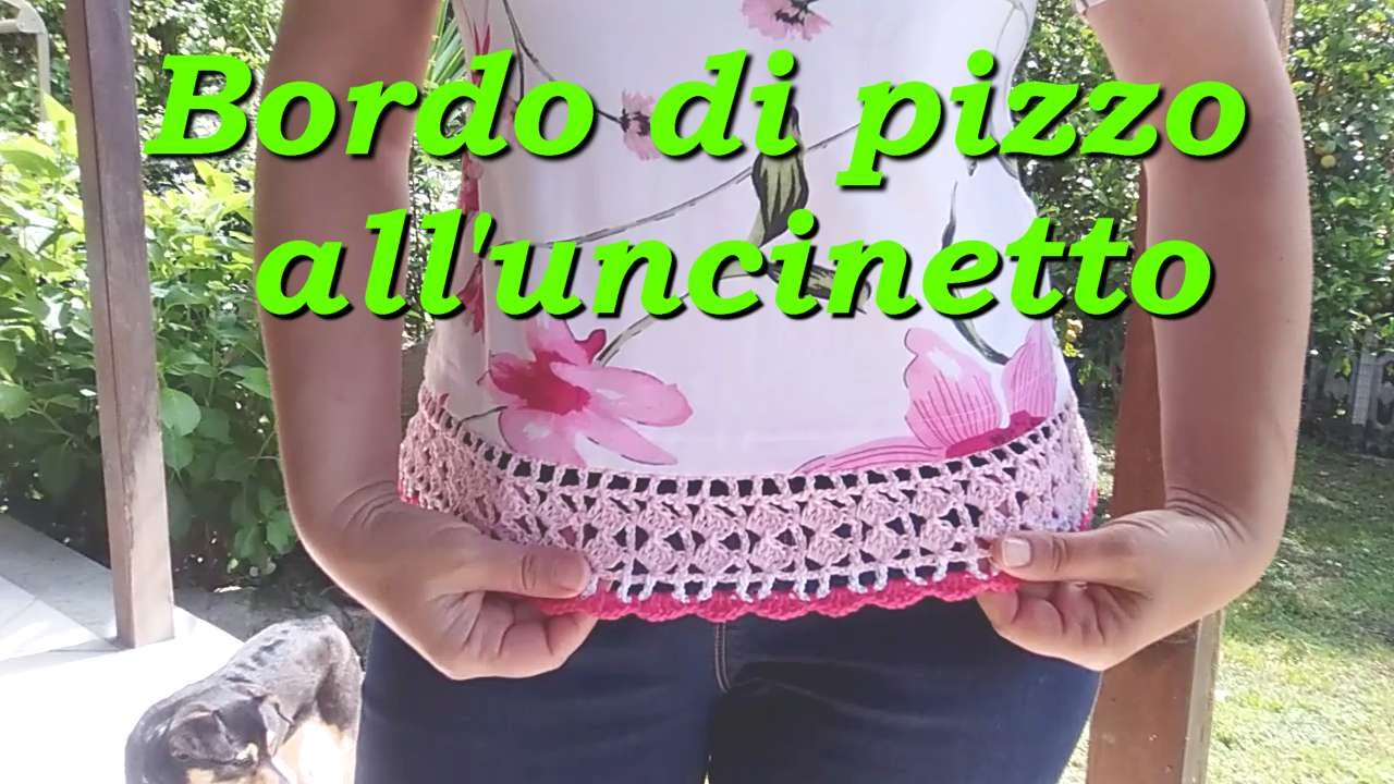 Bordo di pizzo all 39 uncinetto per maglietta youtube Pizzi all uncinetto per credenze