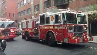 FDNY RESPONDING TO & ON SCENE OF A MINOR HAZMAT CALL ON WARREN ST. IN TRIBECA, MANHATTAN, NEW YORK.