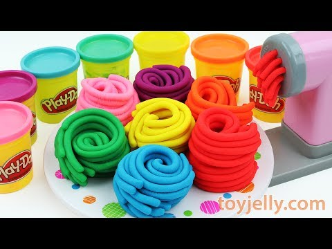 Learn Colors Play Doh Pasta Spaghetti Making Machine Toy Kinder Joy Surprise Egg Baby Finger Song