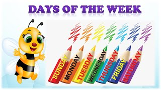 Days of the week with spelling in English and Hindi