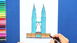 How to draw and color the Petronas Towers, Kuala Lumpur