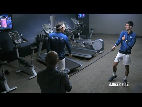 Federer & Djokovic Practice in Gym TOGETHER - Laver Cup 2018 (HD)