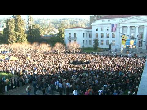 Glued to the ObamaTron - Inauguration Event at UC Berkeley's Sproul Plaza