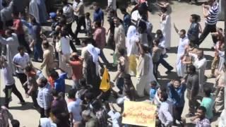 ثوار المنيا يحرقون علم أمريكا وإسرائيل والإمارات 2 مايو 2014