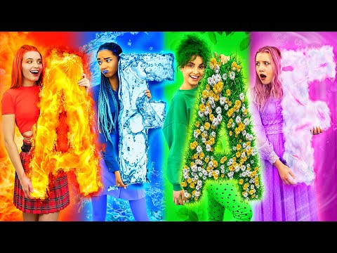 Fire Girl, Water Girl, Air Girl and Earth Girl  / Four Elements in College