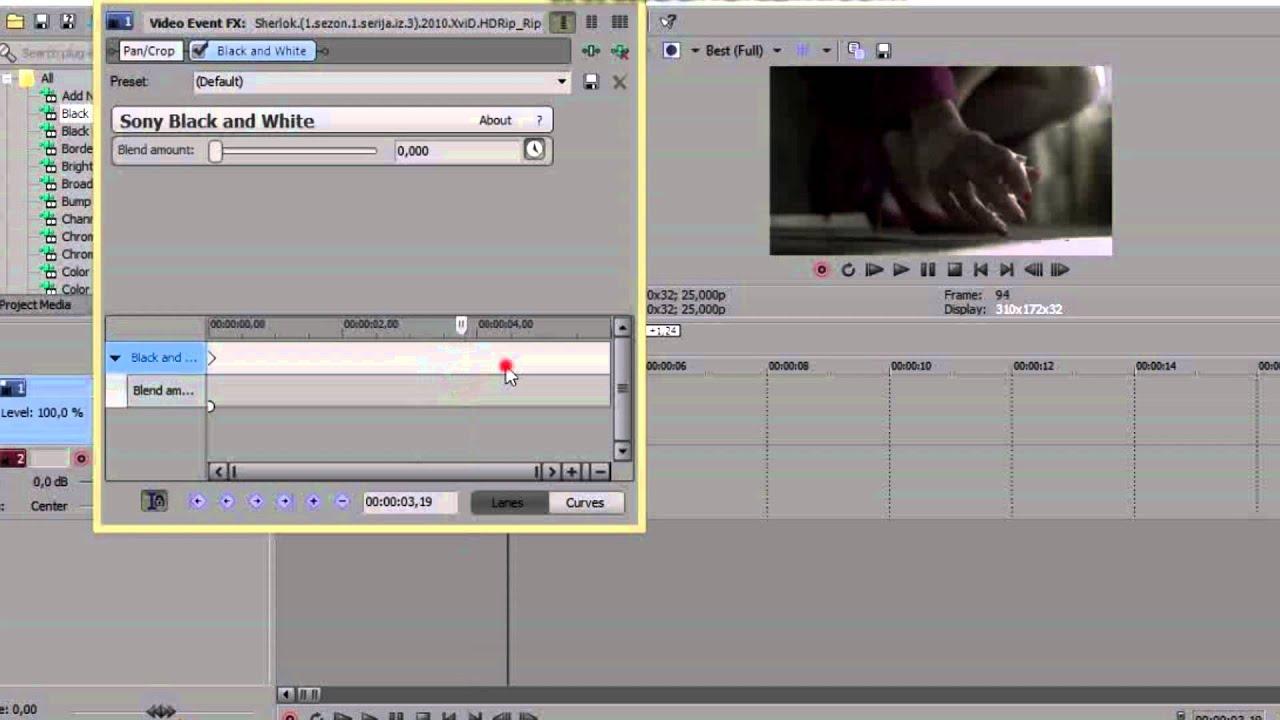 Как сделать черно белым видео в vegas pro