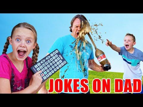 Sneaky Jokes On Dad! Funny Pause Challenge! Kids Fun TV