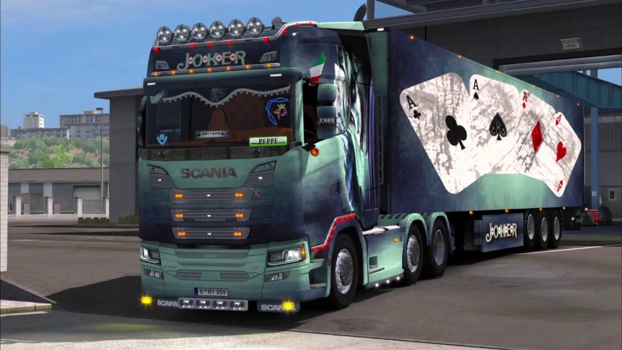 Scania Truck 2018 >> ETS2 New Skin Scania S 2016 Joker Combo 1.30 - YouTube