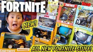 HUNTING FOR NEW TOYS AT GAMESTOP! BUYING ALL THE NEW FORTNITE COLLECTIBLES! HUGE HAUL OF NEW STUFF!