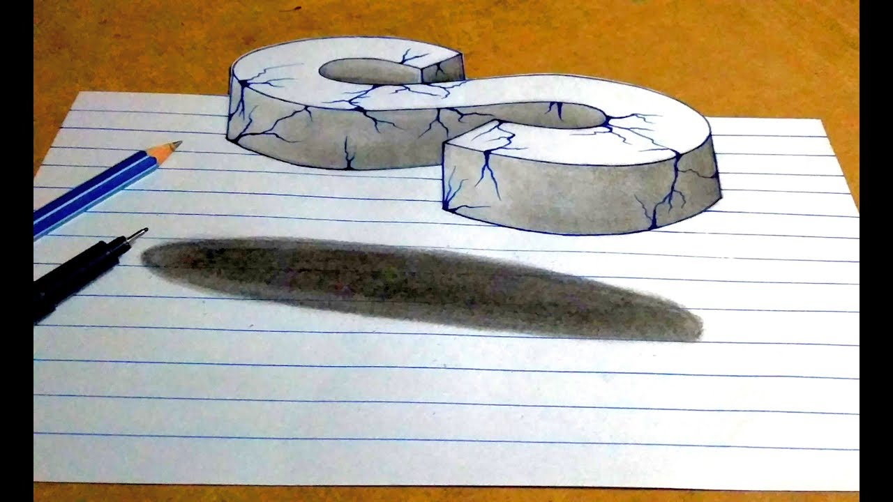 Drawing 3d s floating crack letter by simple pencil sketch