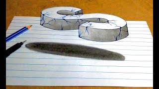 "Drawing 3d ""S"" floating crack letter by simple pencil sketch"