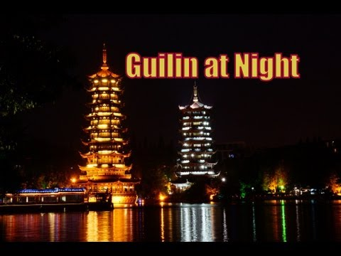 A tour around Guilin, China at night including night markets, street food, pagodas and lakes 晚上桂林
