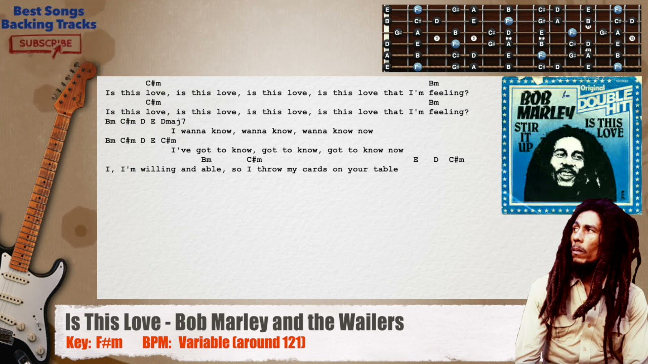 🎸 Is This Love - Bob Marley and the Wailers Guitar Backing Track with chords and lyrics