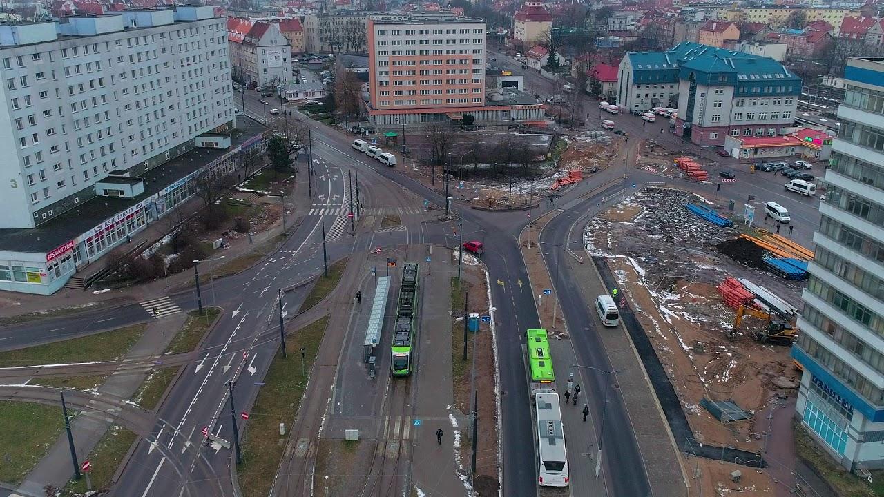 Budowa węzła przesiadkowego przy Dworcu PKP w Olsztynie – styczeń 2018 r.