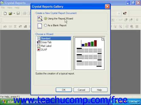 Crystal Reports Tutorial Creating a New Blank Report 10 Business ...