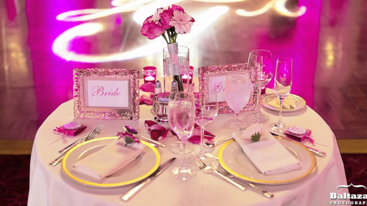 Wedding Reception with Pink Uplighting and a Custom Gobo at the St ...