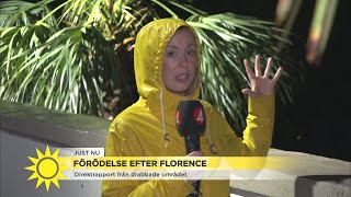 TV4s reporter mitt i stormen Florence
