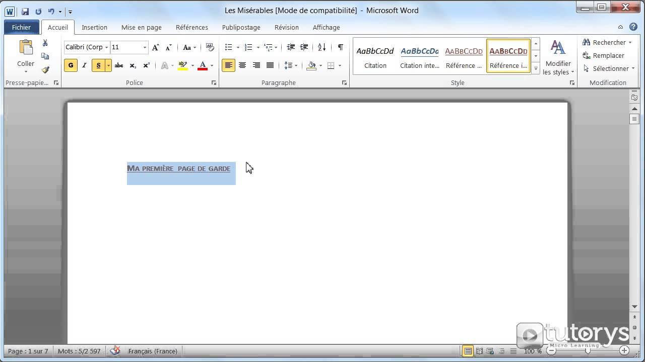 comment ins u00e9rer une page de garde avec word 2010