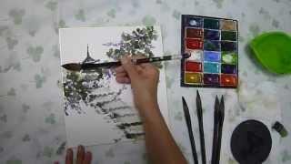 水墨画(sumi-e)萩の描き方動画