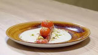 La Zarola - Ajoblanco con sandía y tomates cherry.