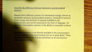 Declarative and Procedural Memory