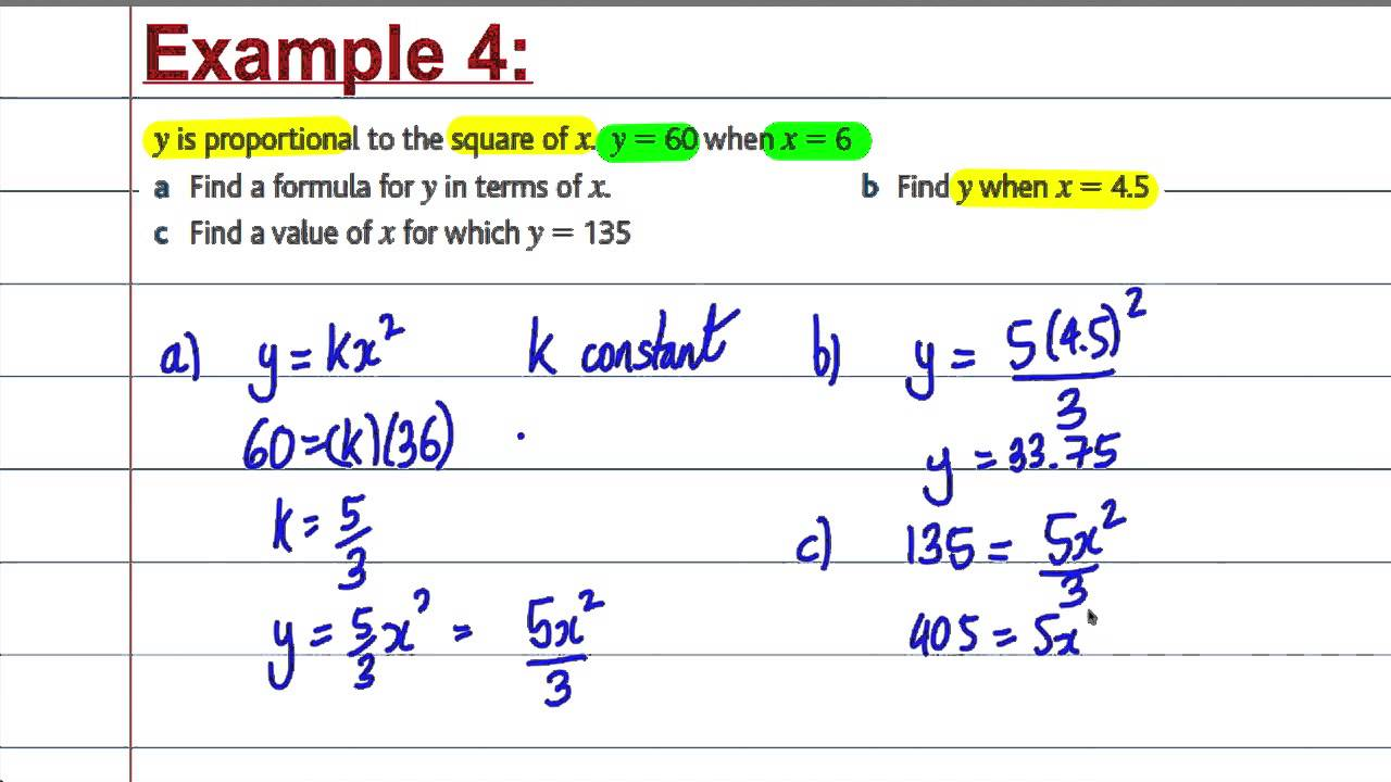 Gcse Maths Revision Direct And Inverse Proportion Youtube