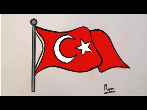 Cok Kolay Turk Bayragi Nasil Cizilir Youtube