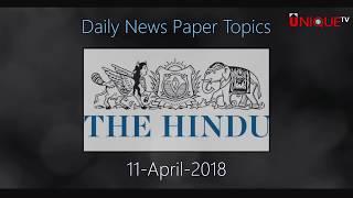 11-04-2018 Daily Current Affairs - Unique Shiksha