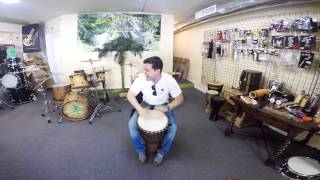 ELIO PIEDRA DJEMBE LESSONS VIDEO PROMO(Elio Piedra playing djembe at Ancient Rhythms Drum Shop,mixing fills,licks and rudiments around afro patterns do not miss it..Check it out