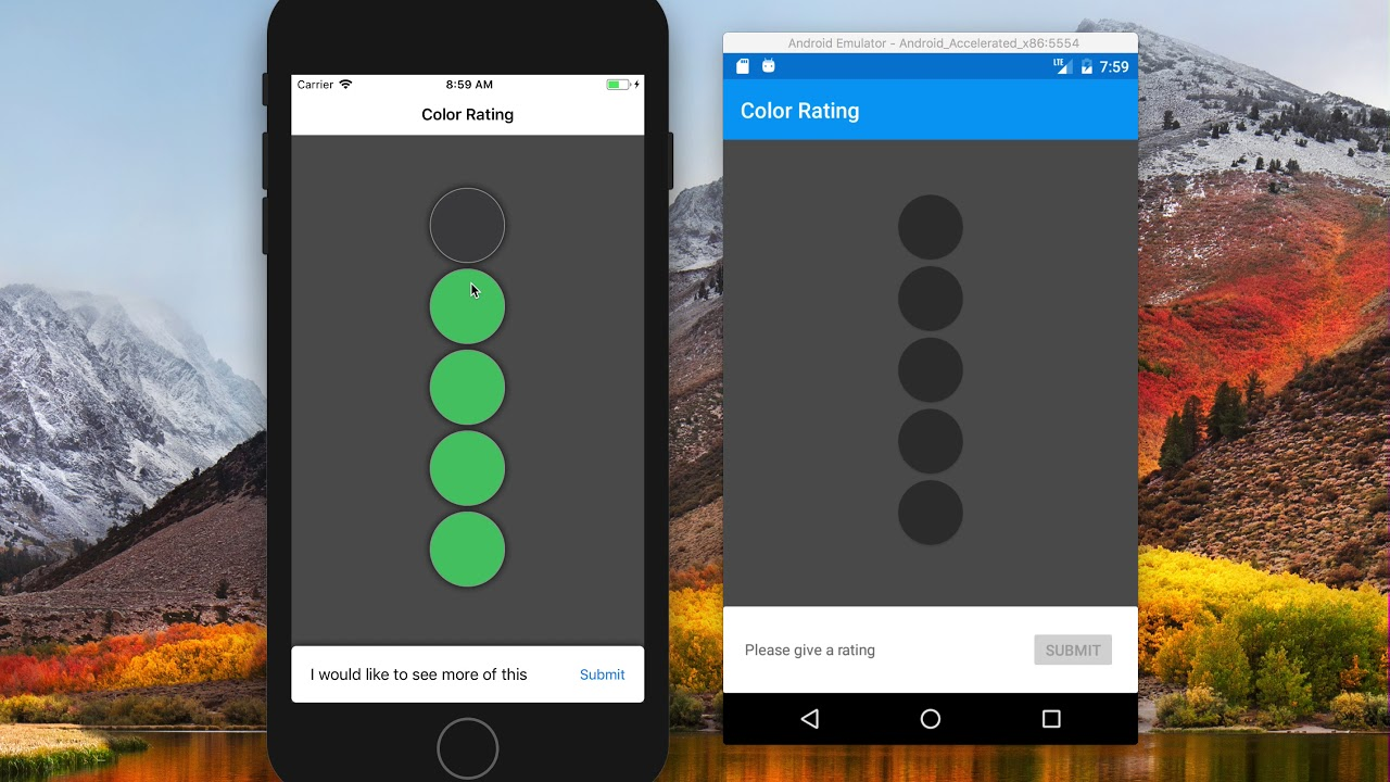 Colorful rating system with Xamarin Forms and Custom Animations