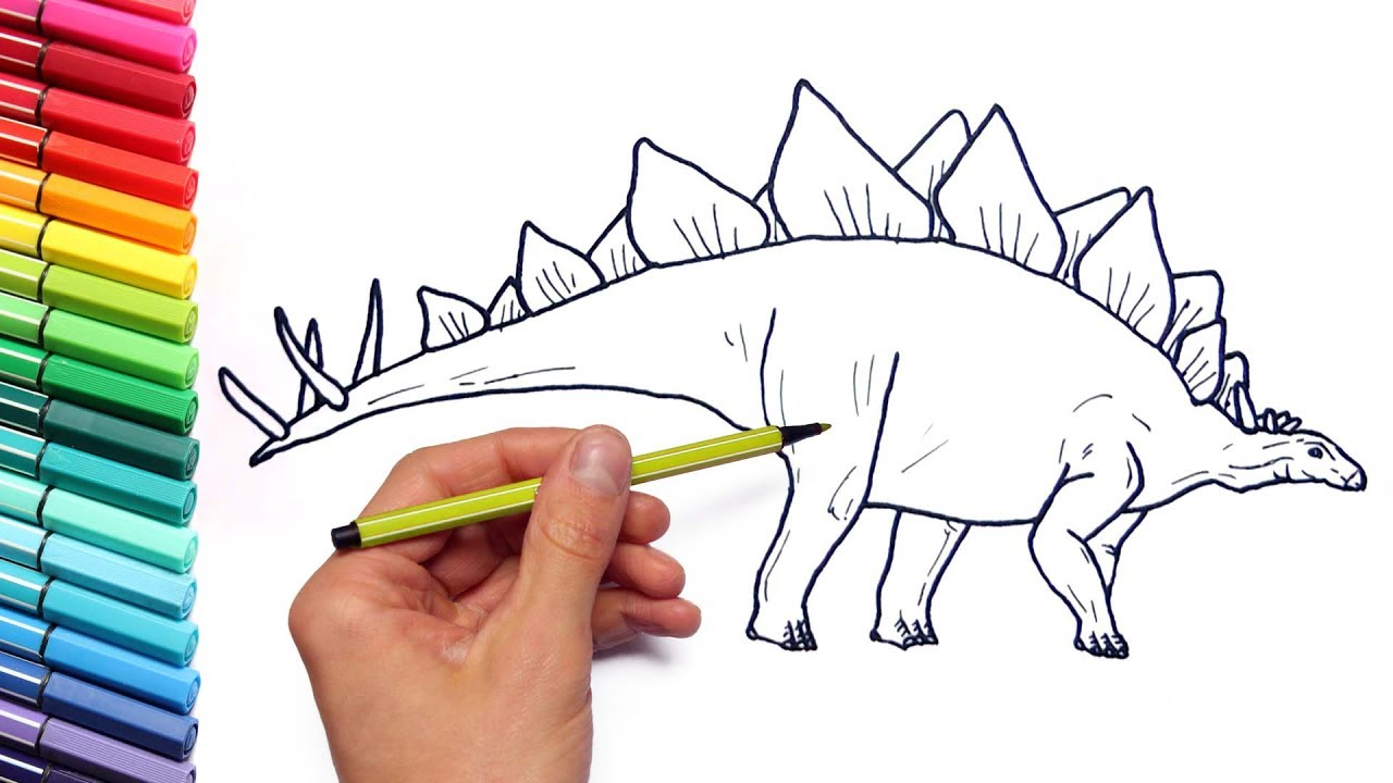 drawing and coloring stegosaur how to draw dinosaurs color page