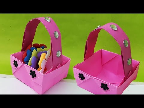 How to Make Basket with Color Paper | Paper basket for Easter-Origami Basket making-DIY Paper Basket
